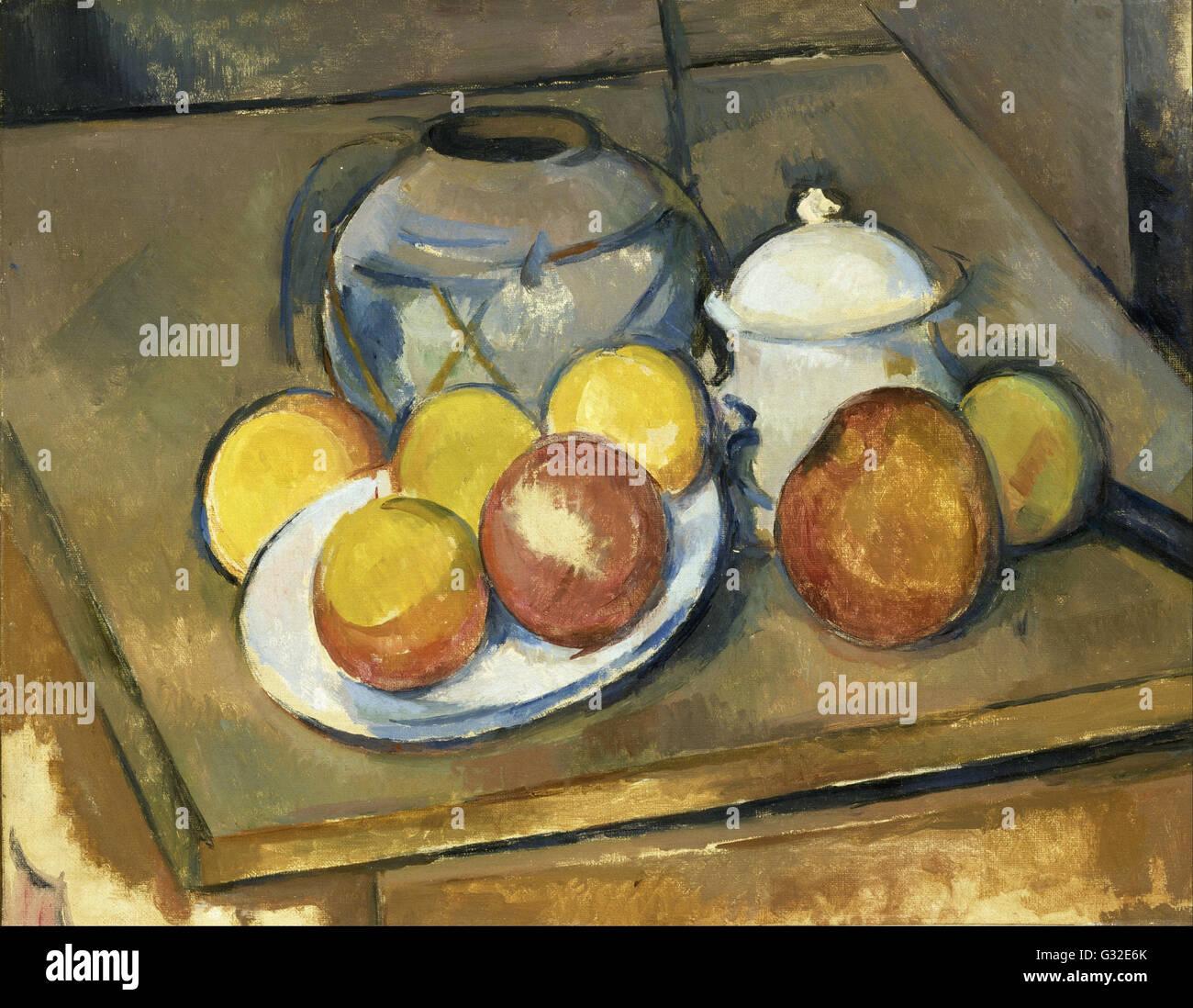 Paul Cézanne - Straw-Trimmed Vase, Sugar Bowl and Apples   - Musée de l'Orangerie - Stock Image