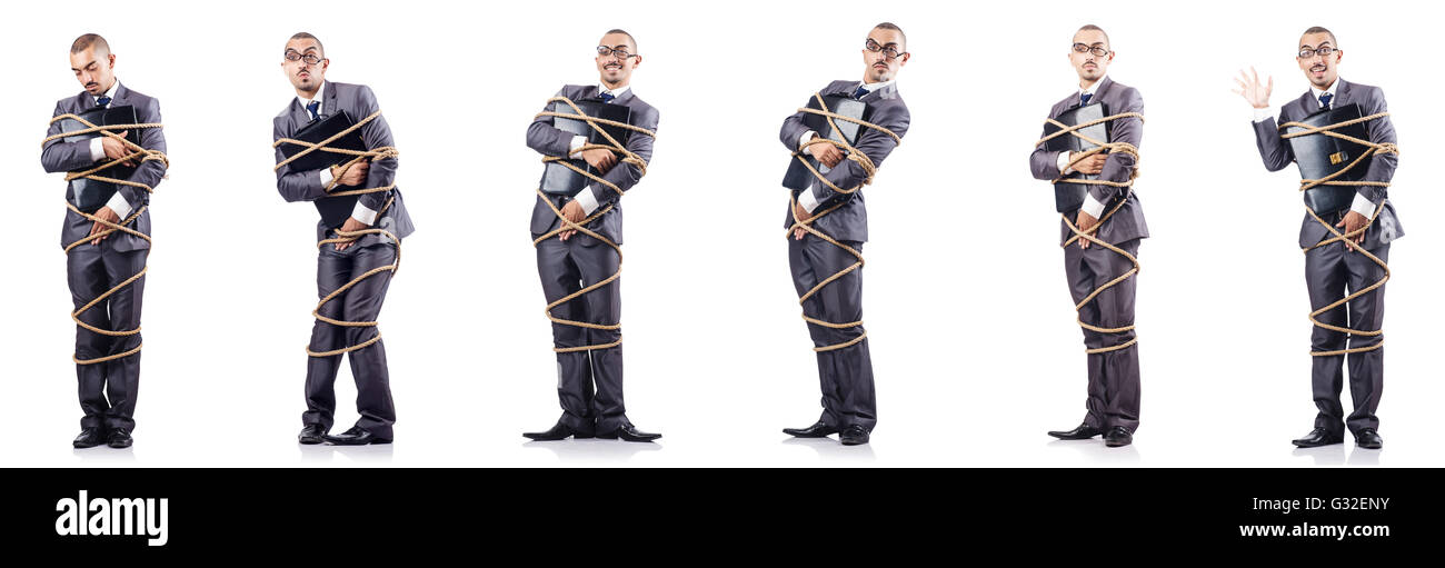 Man tied up isolated on white - Stock Image