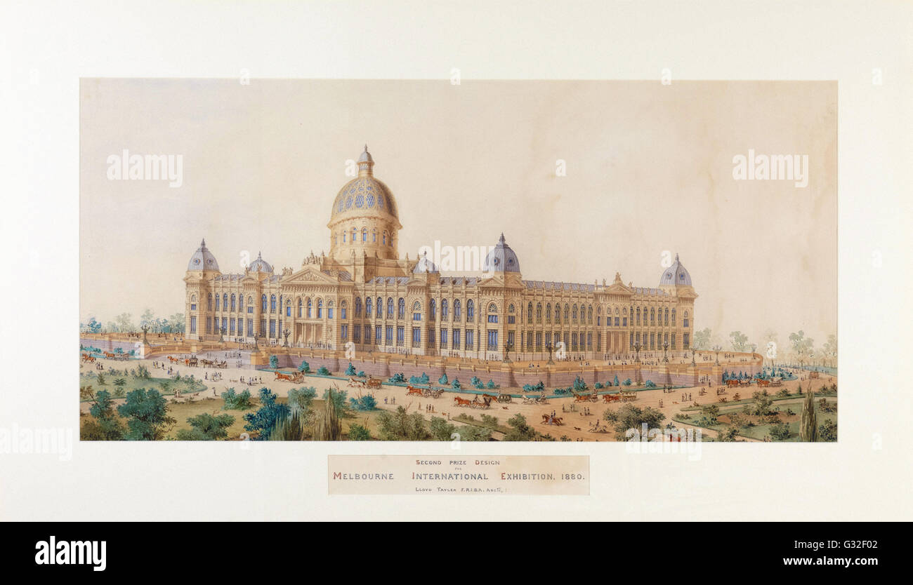 Lloyd Tayler - Second Prize Design, Melbourne International Exhibition Building   - Museum Victoria, Carlton Australia - Stock Image