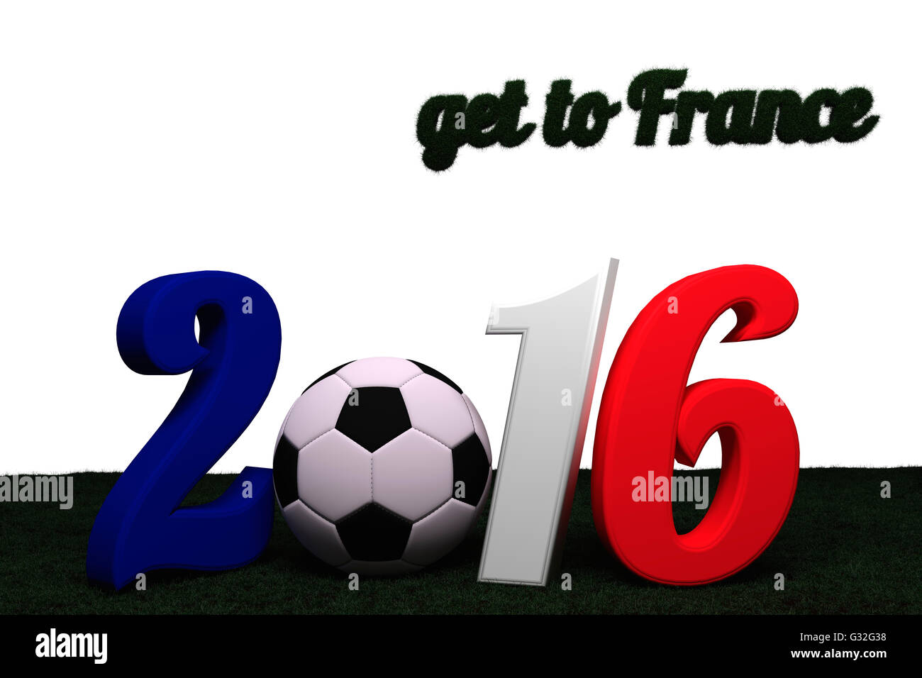 """Letters 2016 in 3D and colors blue, white and red. Letter 0 represented by a football.  Letters """"get to France"""" Stock Photo"""