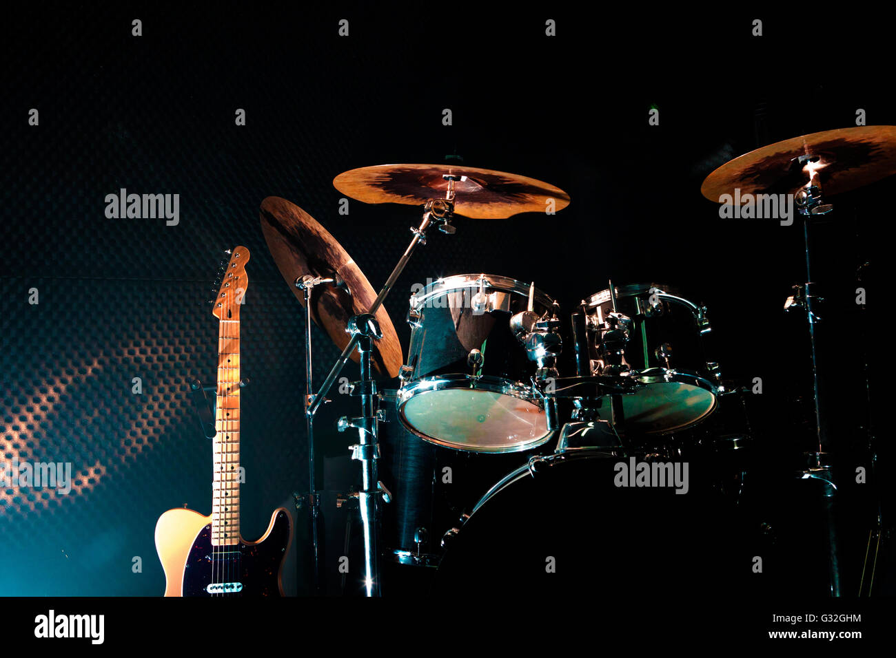 Rehearsal studio.Live music and instruments - Stock Image