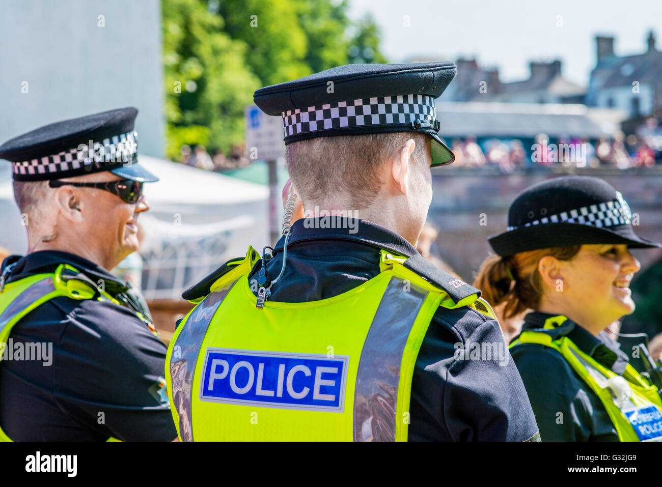Police Officers on duty at Appleby Horse Fair, in Appleby-in-Westmorland, Cumbria, UK - Stock Image