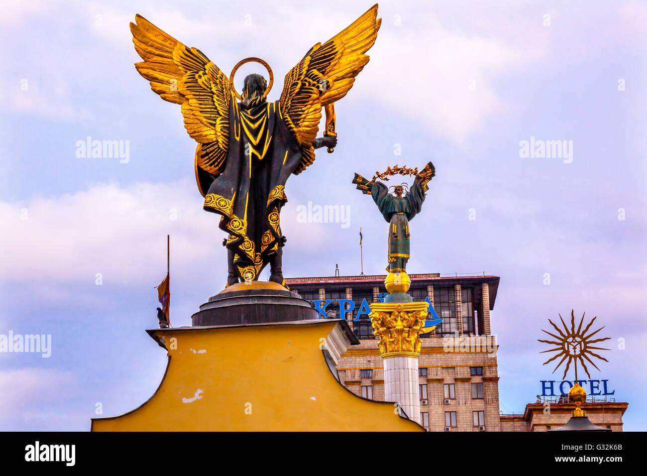 Laches Gate Saint Michael Peasant Girl Slavic Goddess Berehynia Statue on top Independence Monument, Symbol of Ukraine - Stock Image