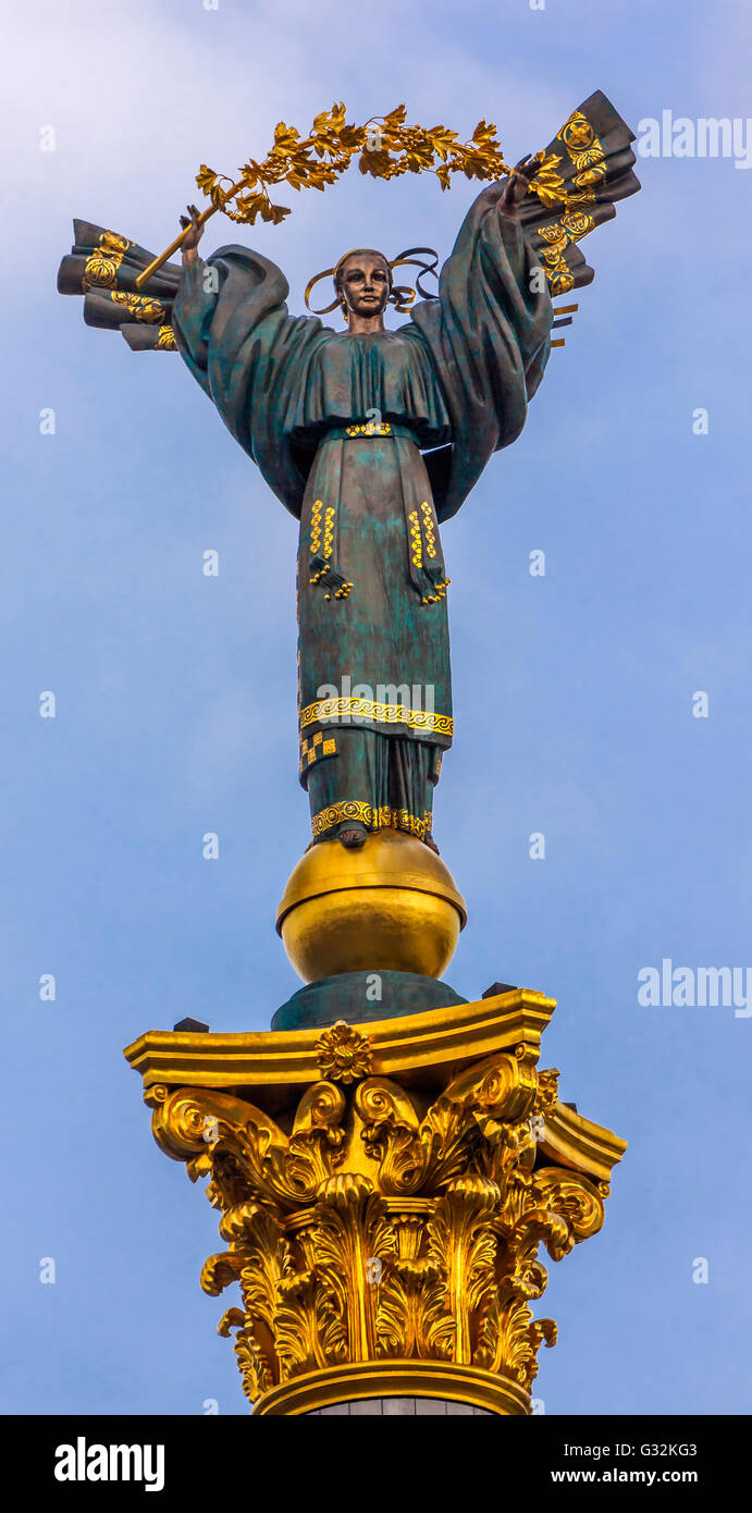 Peasant Girl Slavic Goddess Berehynia on top Independence Monument, Symbol of Ukraine Independence and Orange Revolution, - Stock Image