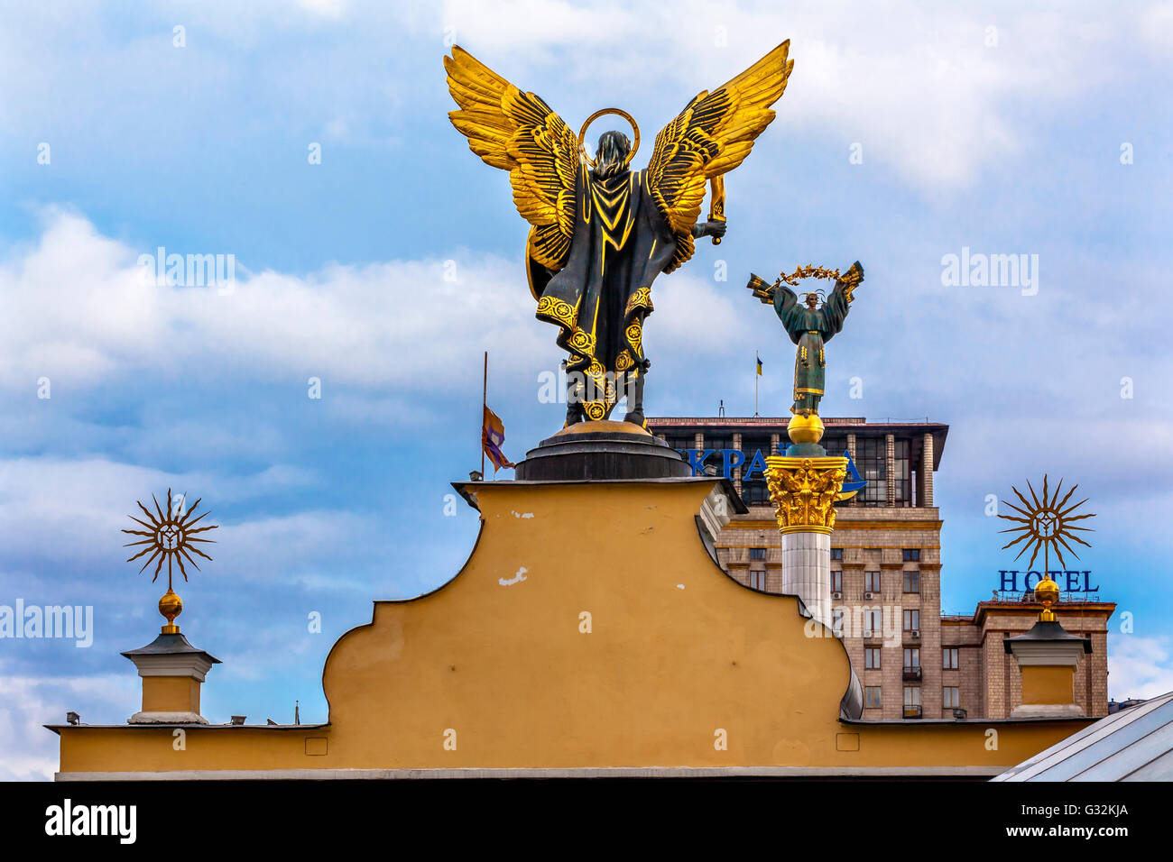 Laches Gate Saint Michael Peasant Girl Slavic Goddess Berehynia Statue Independence Monument, Maidan Kiev Ukraine - Stock Image