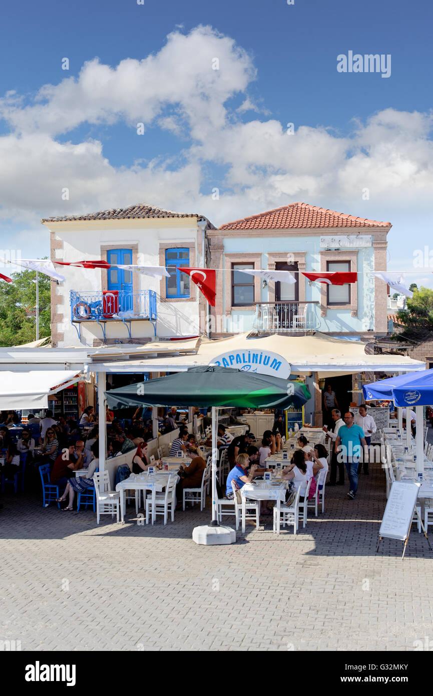 Seashore restaurants of touristic town Cunda Alibey Island, Ayvalik. It is a small island in the northwestern Aegean - Stock Image