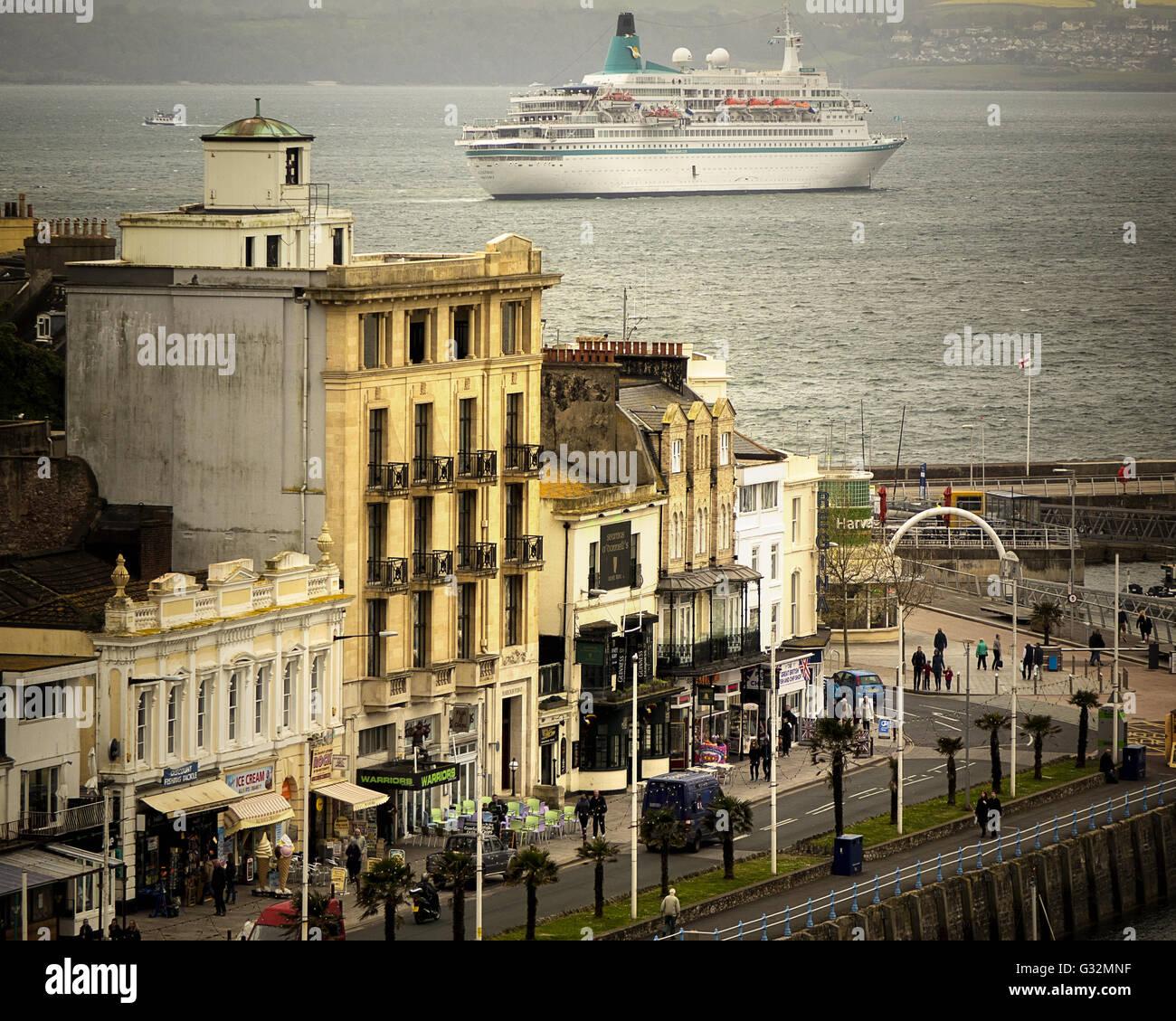 GB - DEVON: The German cruise liner MS Albatros off Torquay (02 May 2016) - Stock Image