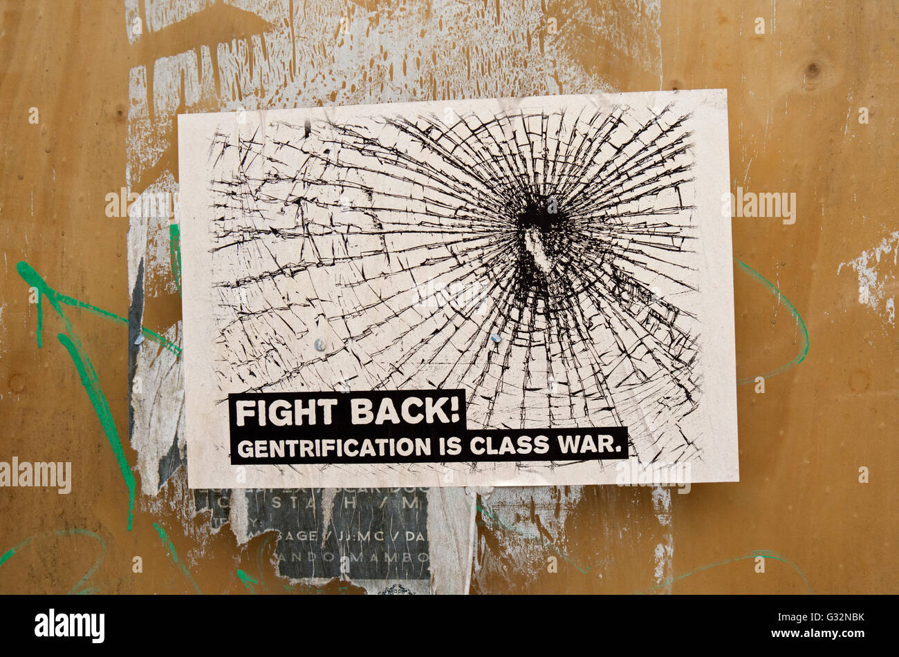 A Class War poster protesting against the gentrification of London. - Stock Image