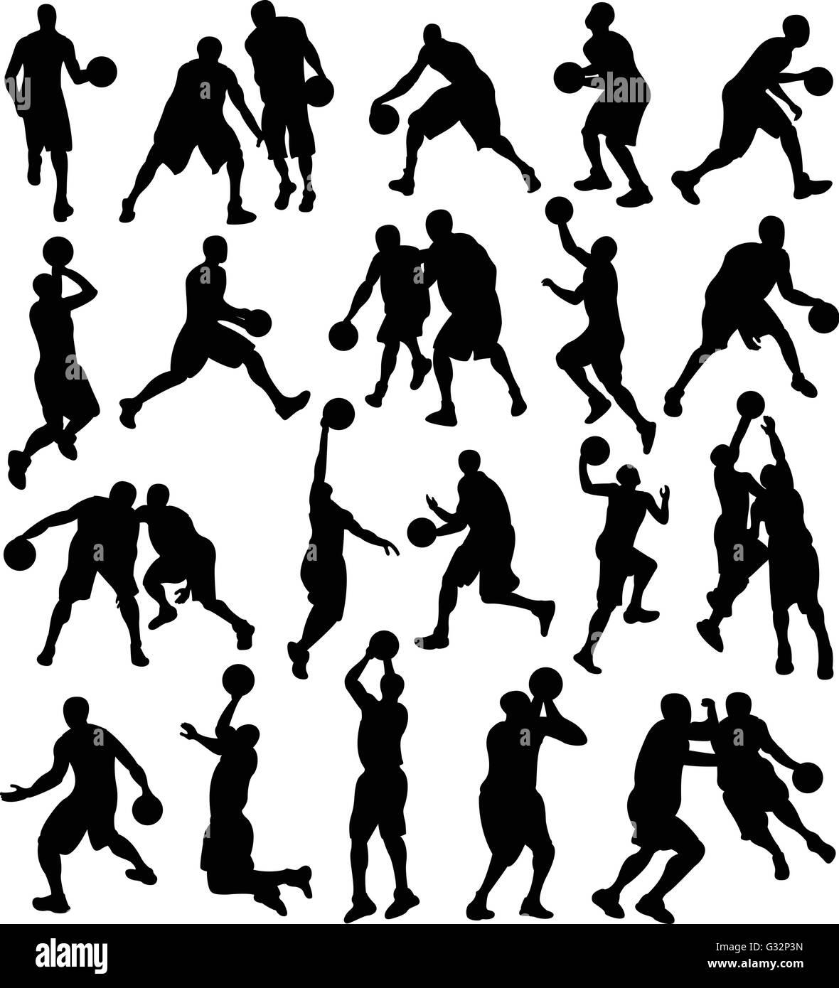Basketball, Sport, Athlete, Silhouette - Stock Vector
