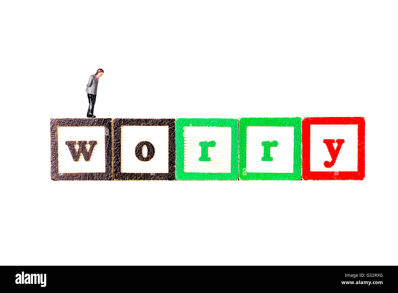 Worry man worrying about actual or potential problems 	trouble bother cause anxiety make anxious disturb distress - Stock Image