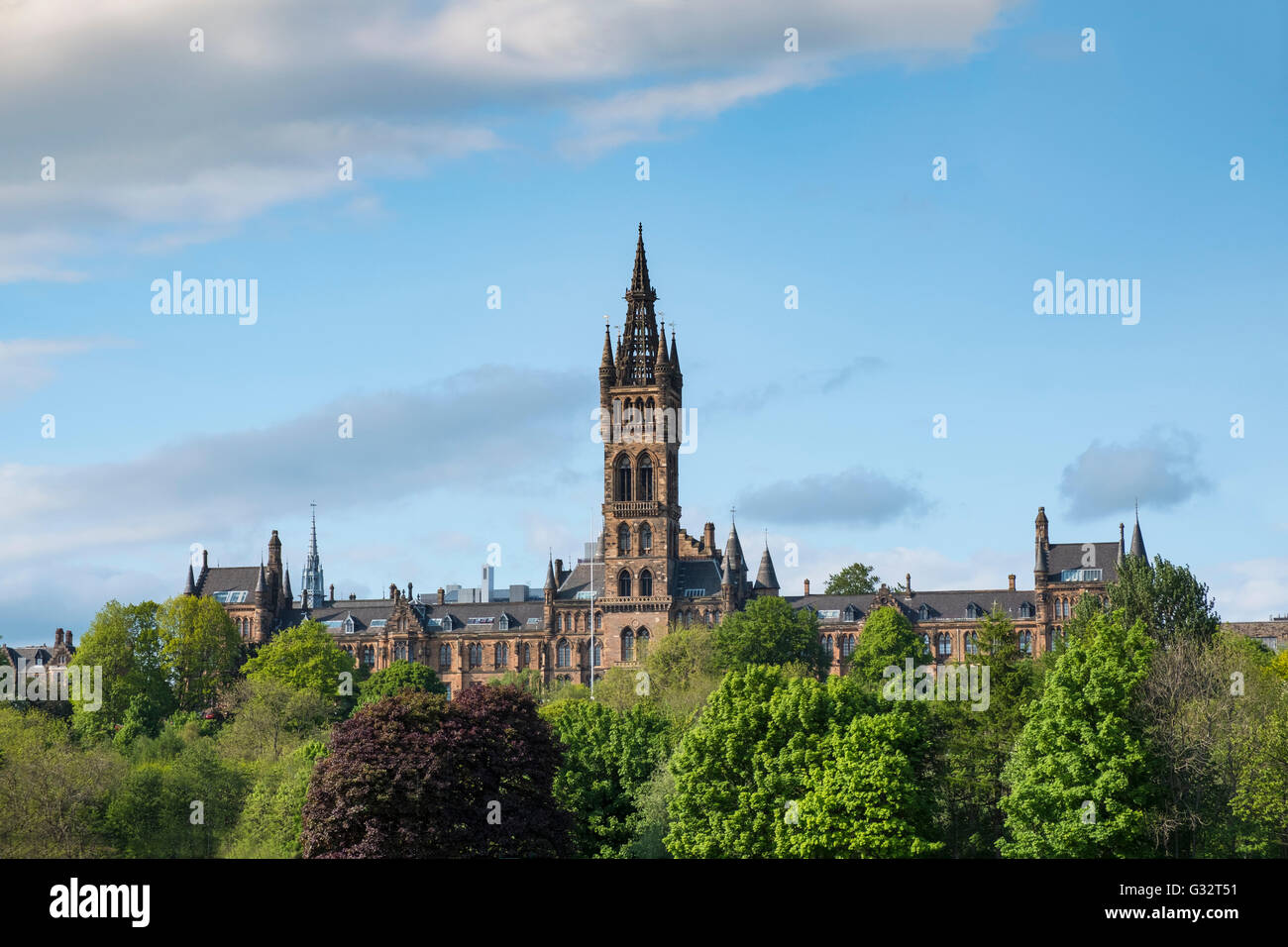 View of Gothic architecture of Glasgow University in Scotland, United Kingdom - Stock Image