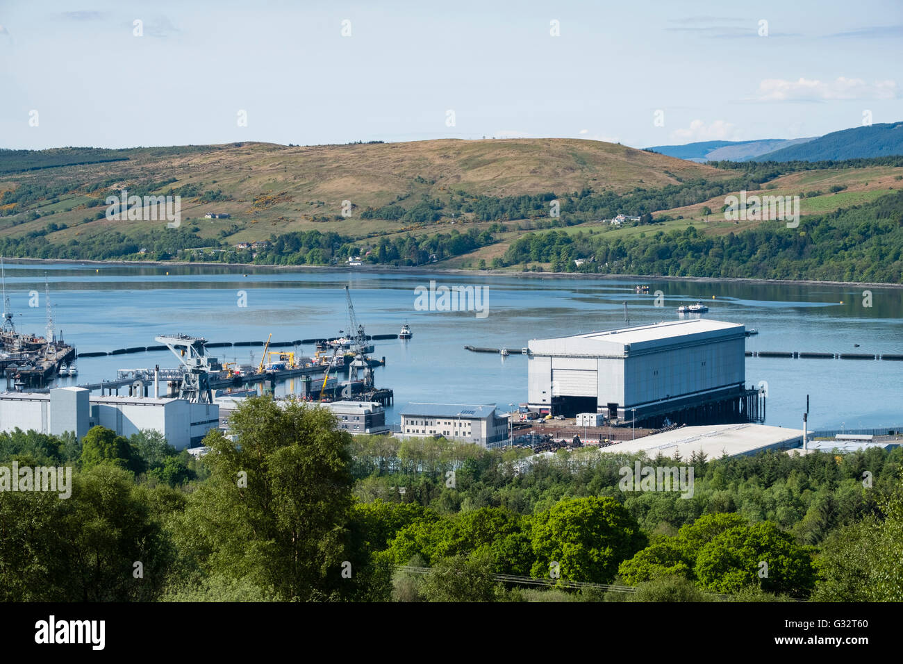 View of Royal Navy base, Clyde, at Faslane on the Gare Loch in Argyll and Bute Scotland United Kingdom - Stock Image