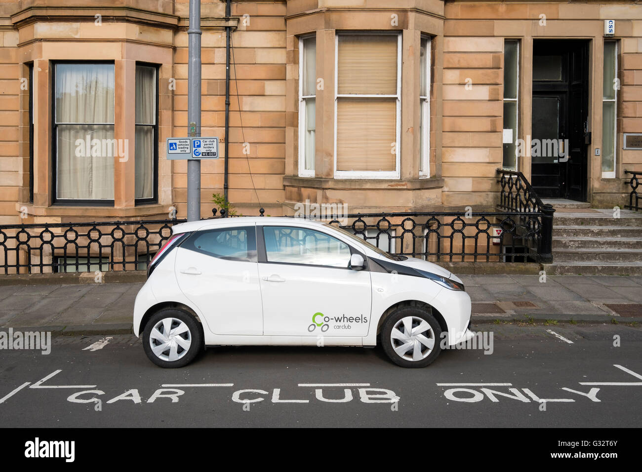 reserved Car Club Parking space in Glasgow United Kingdom - Stock Image