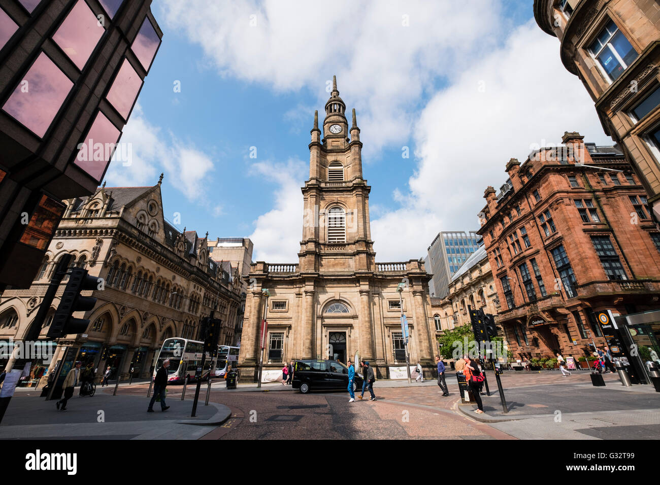 View of St George's Tron Church of Scotland and Nelson Mandela Place in central Glasgow, Scotland, United kingdom - Stock Image