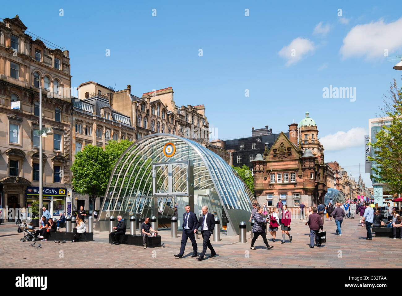 View of south entrance to underground station at St Enoch Square in Glasgow, Scotland, United Kingdom - Stock Image