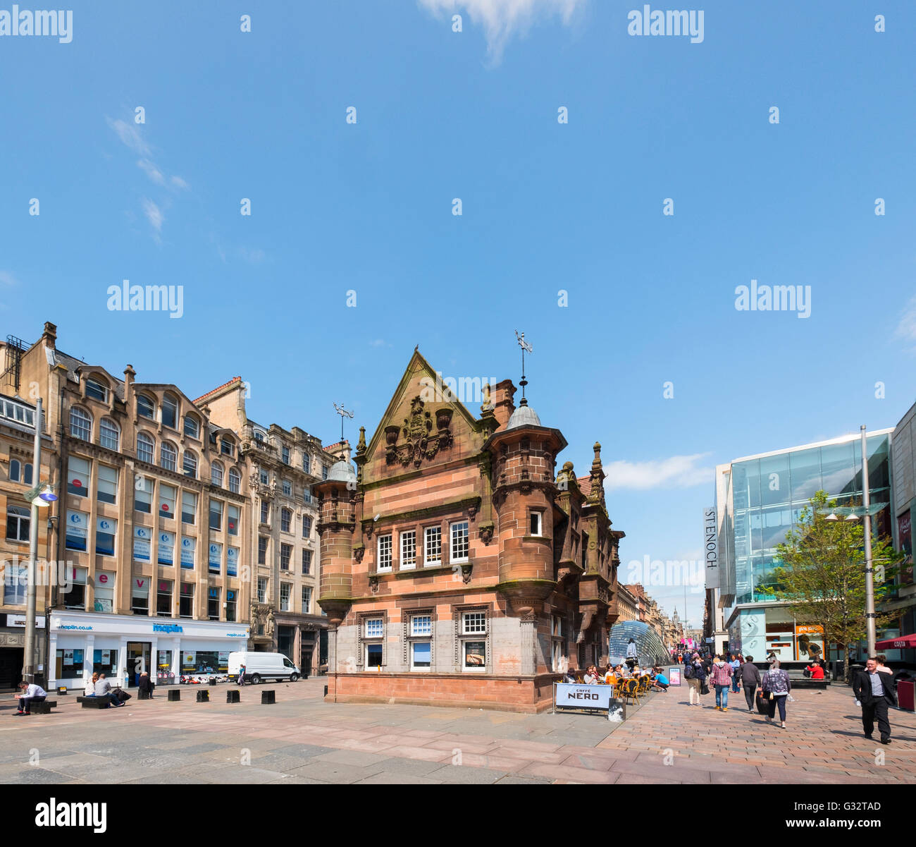 Former underground station office and entrance at  St Enoch Square in Glasgow, Scotland, United Kingdom - Stock Image