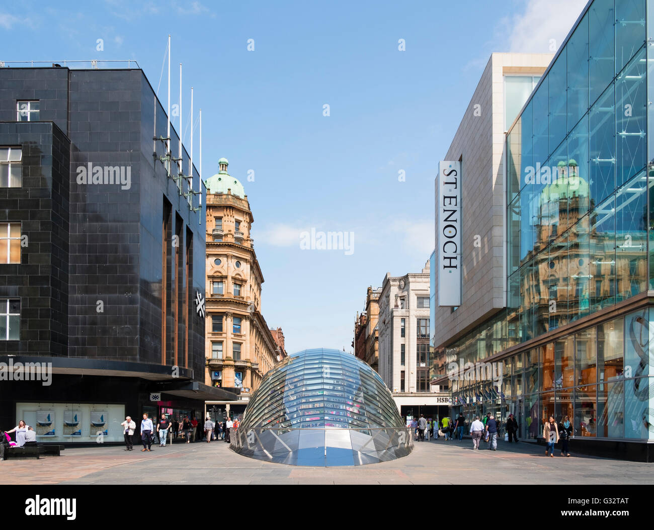 view of entrance to St Enoch station on Glasgow Underground at St Enoch Square in Glasgow, Scotland, United Kingdom - Stock Image