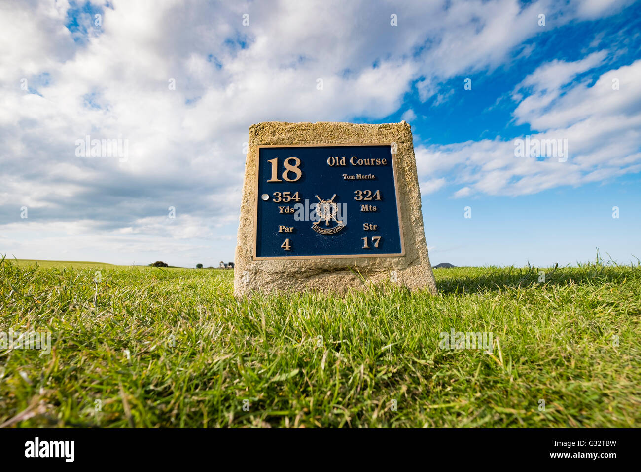 Tee box on 18th hole , Tom Morris, at Old Course of St Andrews in Fife Scotland, united Kingdom - Stock Image