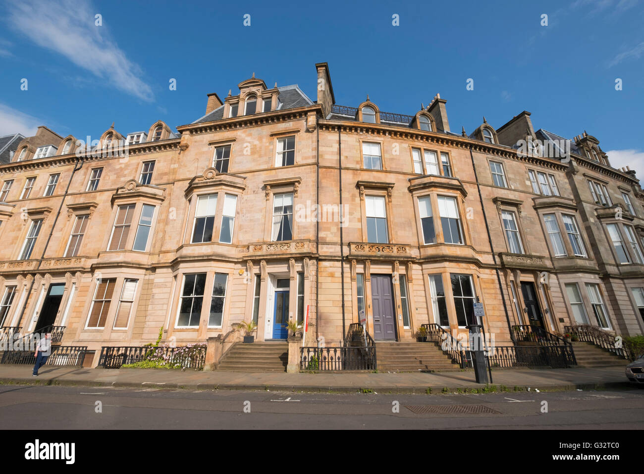 Elegant old apartment buildings on Park Terrace in west end of Glasgow , Scotland, United Kingdom - Stock Image