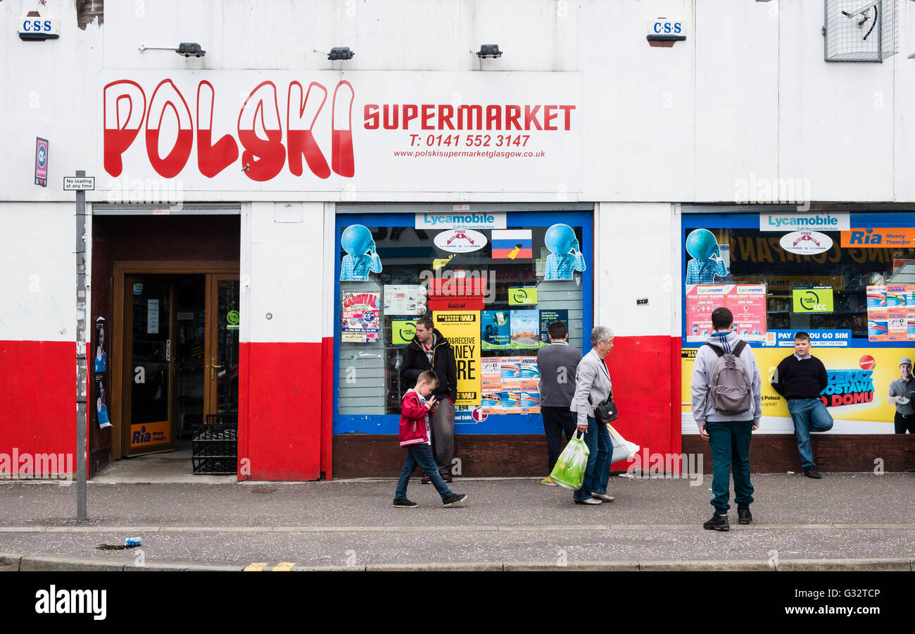 Polski supermarket, Polish shop on Gallowgate in East End of Glasgow, Scotland, United Kingdom - Stock Image