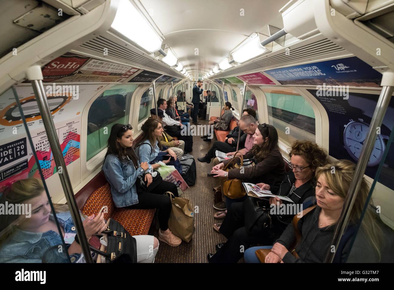 Interior of carriage on Glasgow Underground system in Scotland, united Kingdom - Stock Image