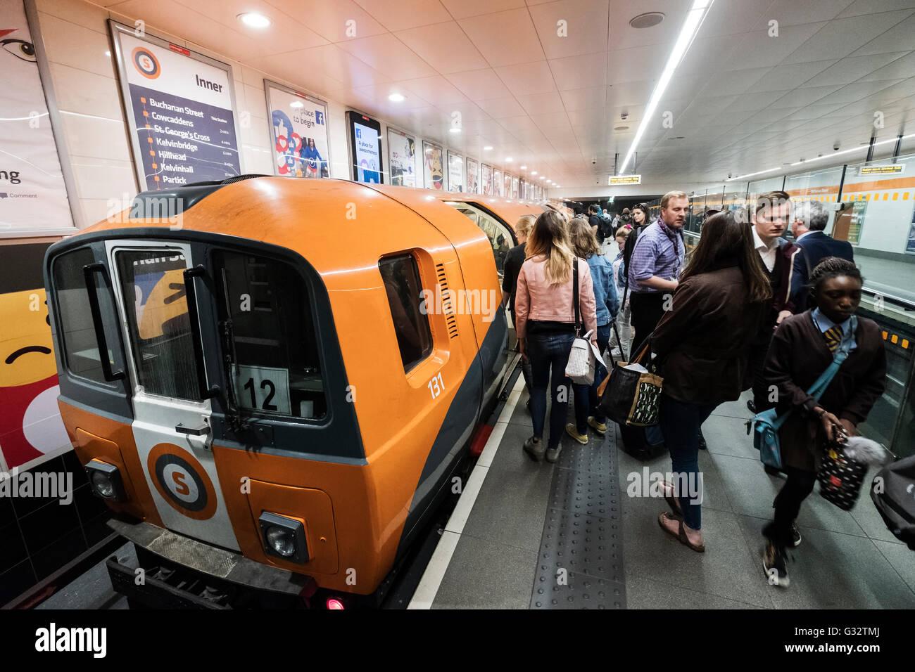Platform at Buchanan Street station on Glasgow Underground system in Glasgow, Scotland, United Kingdom - Stock Image