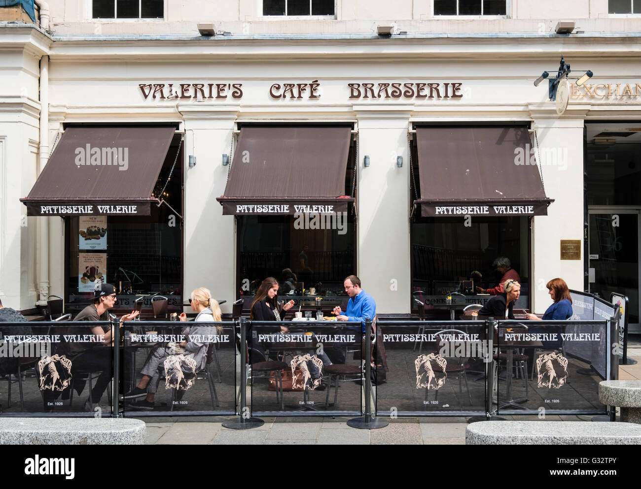 Valerie's Cafe and Brasserie in Royal Exchange Square in central Glasgow, Scotland, United Kingdom - Stock Image