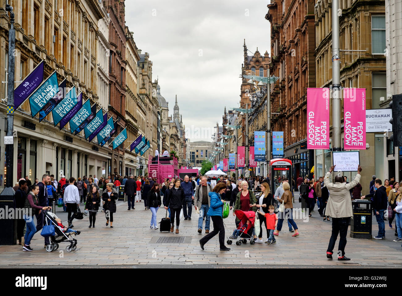 View of historic buildings on Buchanan Street, popular shopping street,  in central Glasgow United Kingdom - Stock Image