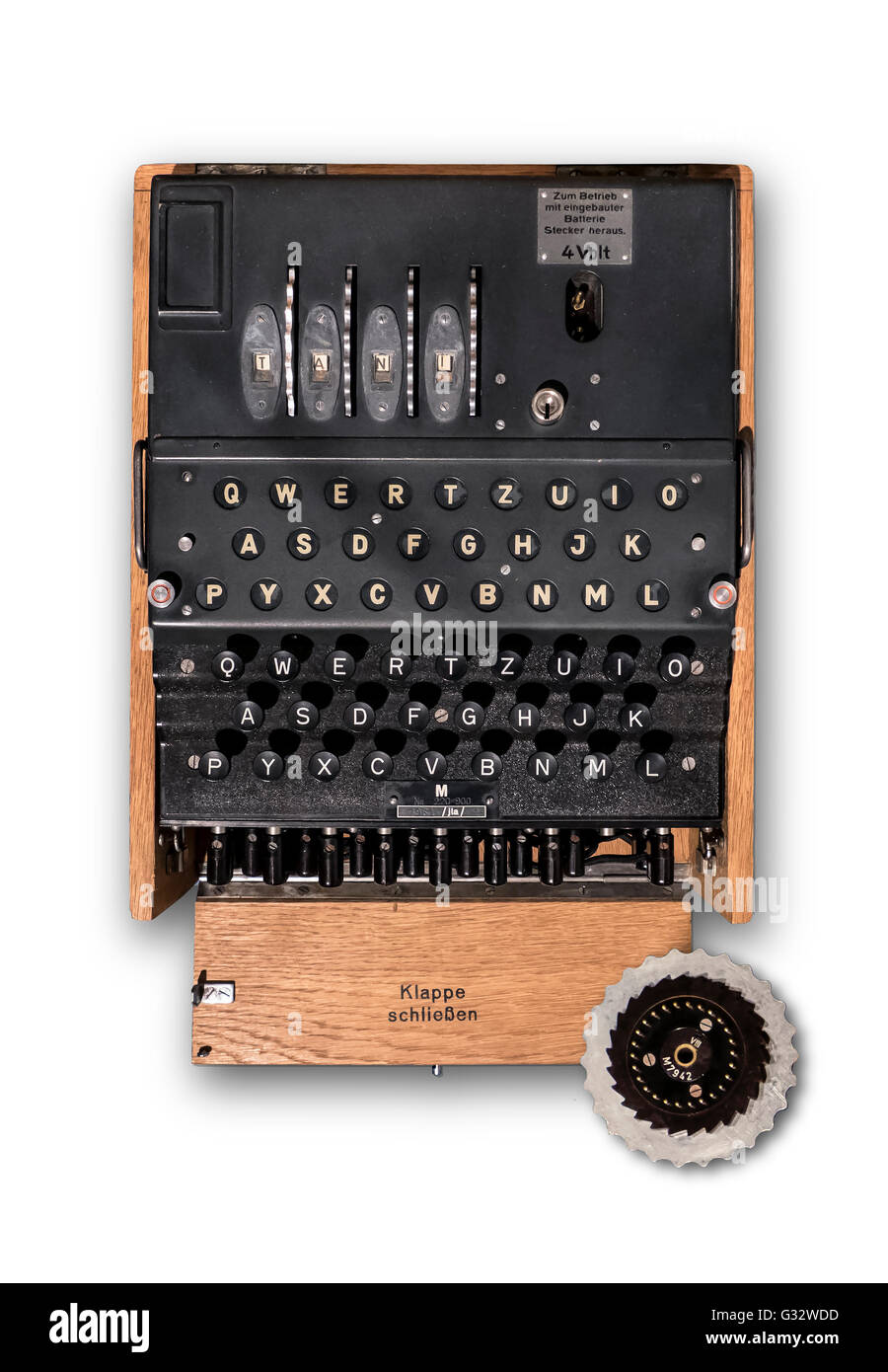 A top view of a World War 2 German Navy 4 rotor M-4 'Enigma'cypher machine. - Stock Image