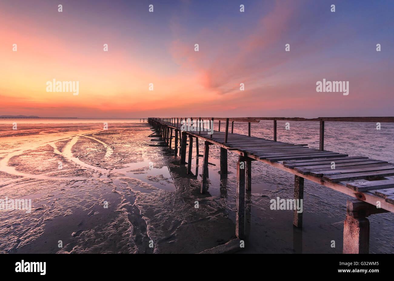 Abandon Jetty at sunrise, Teluk Tem, Penang, Malaysia - Stock Image