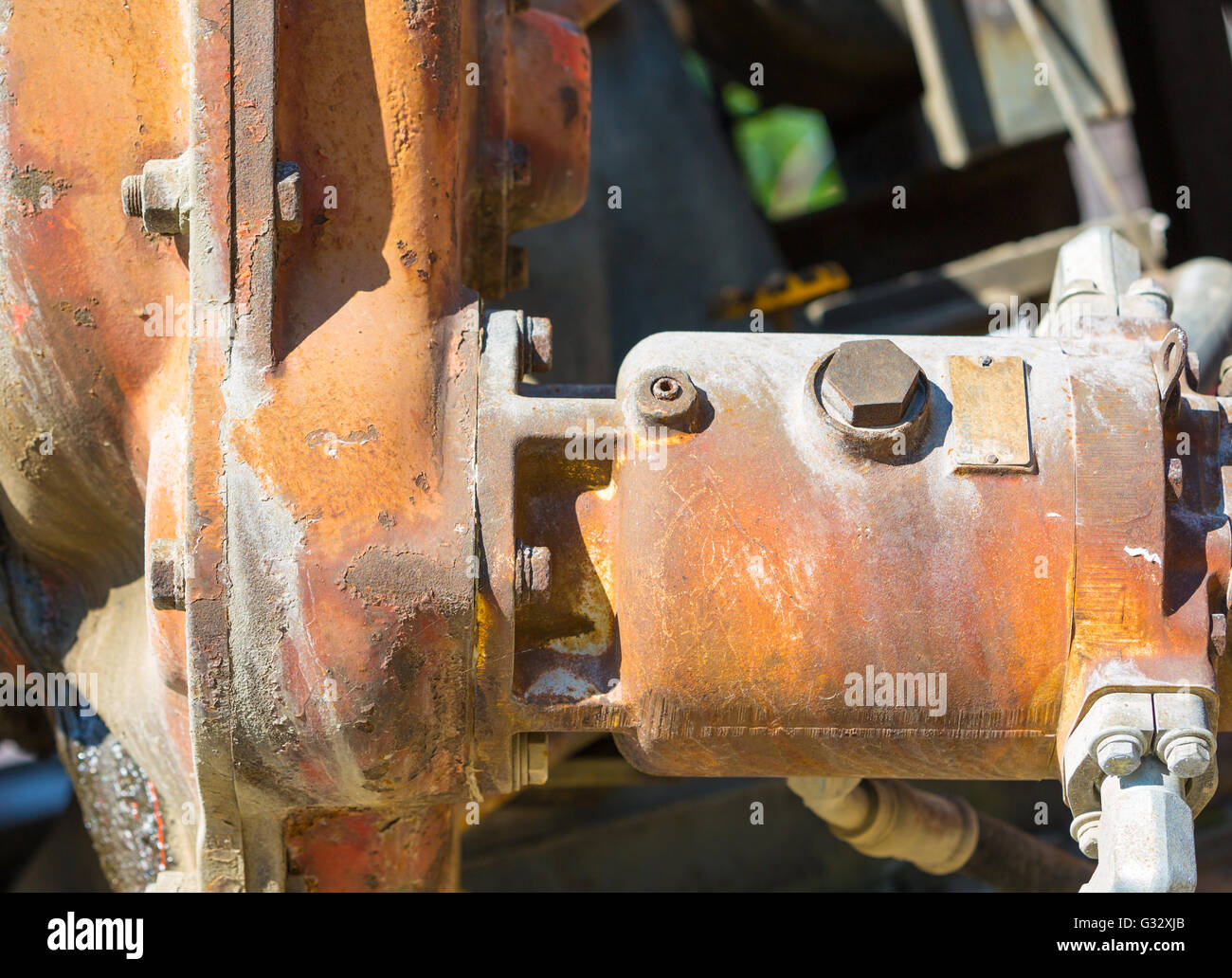detail image of a piece of a construction equipment machinery Stock Photo