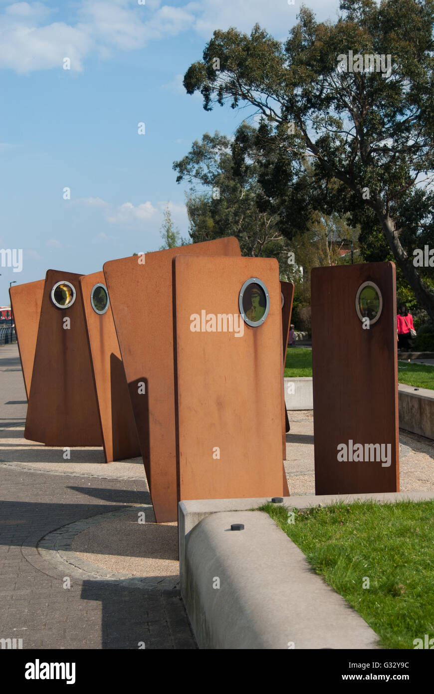 Public art - Casuals on the Irwell Sculpture Trail -Salford Quays - Stock Image