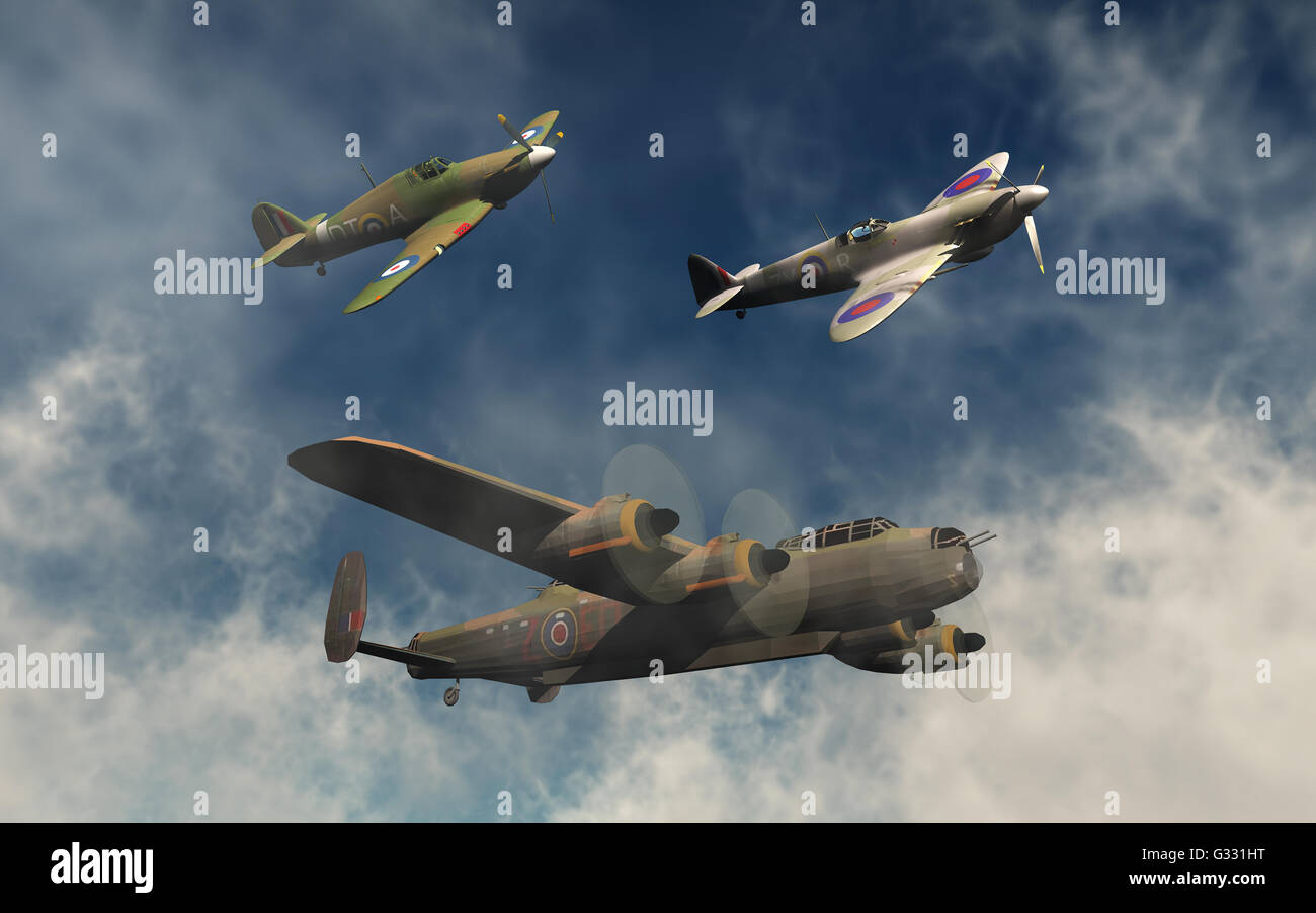 A British RAF,Avro Lancaster Bomber, & A Supermarine Spitfire,& Hawker Hurricane Fighters. - Stock Image