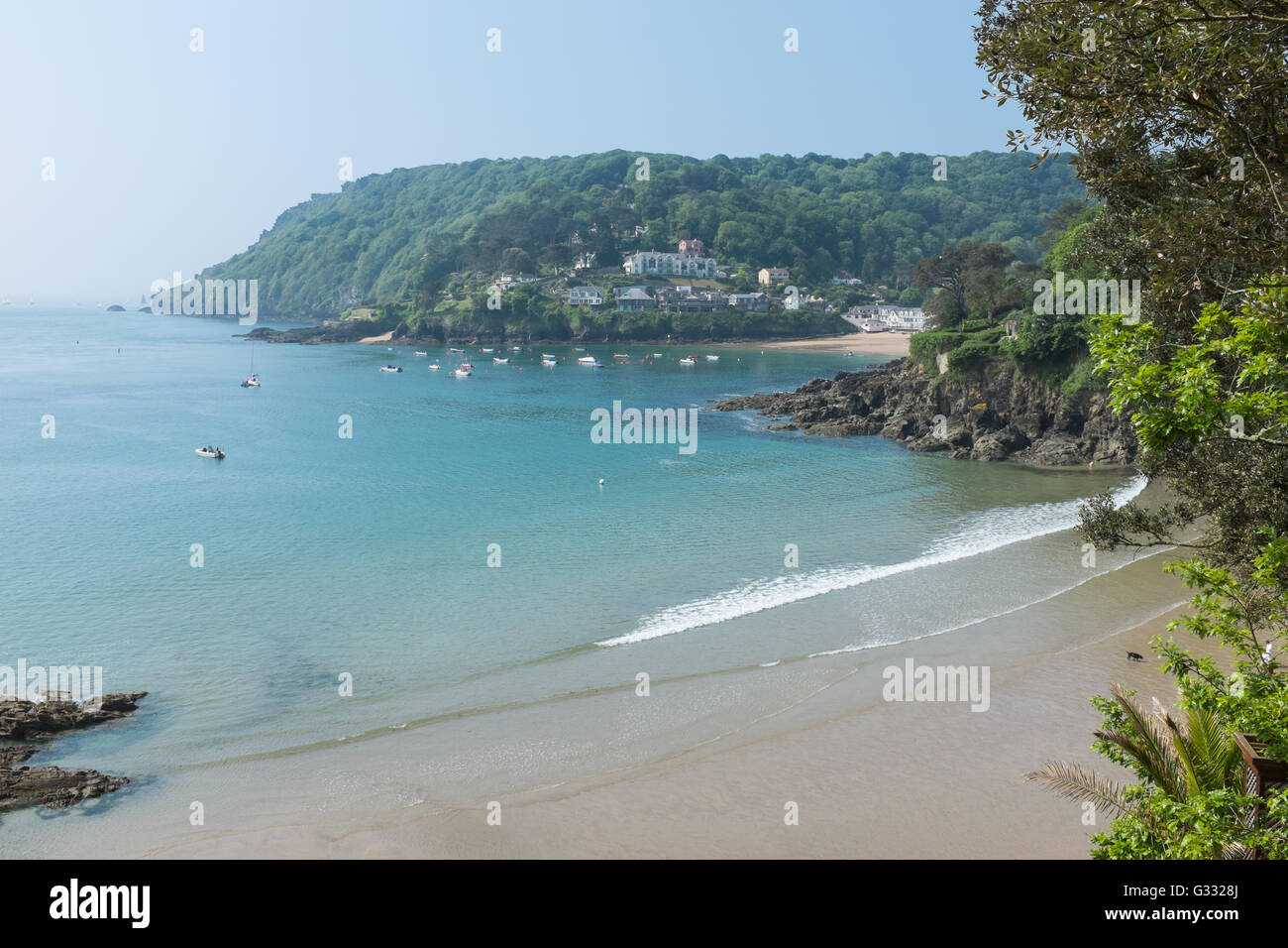 View towards Bolt Head from North Sands near Salcombe in Devon Stock Photo