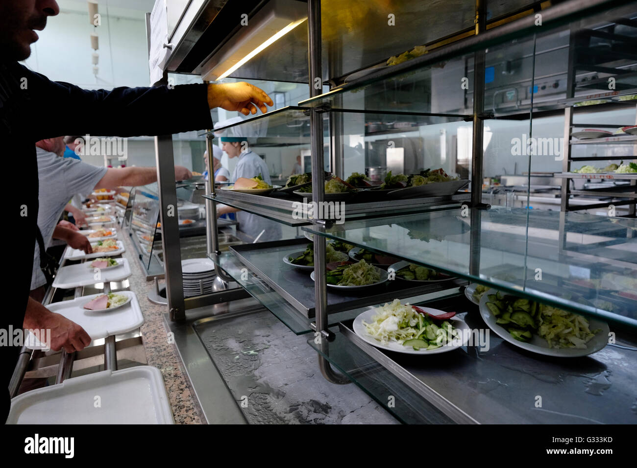 Visitors having their lunch at the canteen of Chernobyl nuclear site in Ukraine on 04 June 2016. The Chernobyl accident - Stock Image
