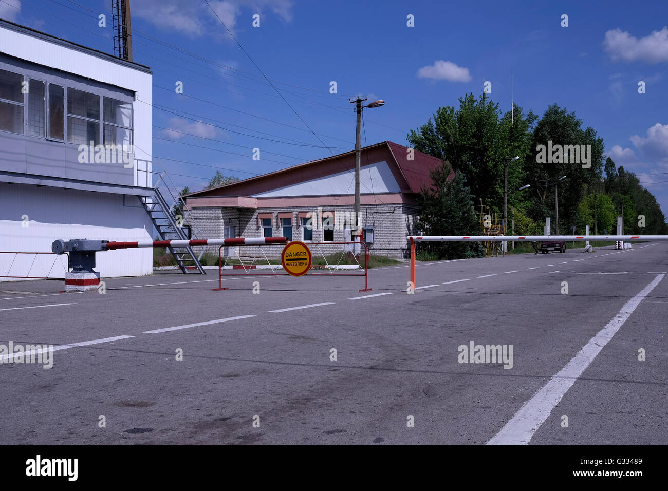 The Dytyatky check point at the entrance to the 30km wide restricted area around the Chernobyl Nuclear Power Plant - Stock Image