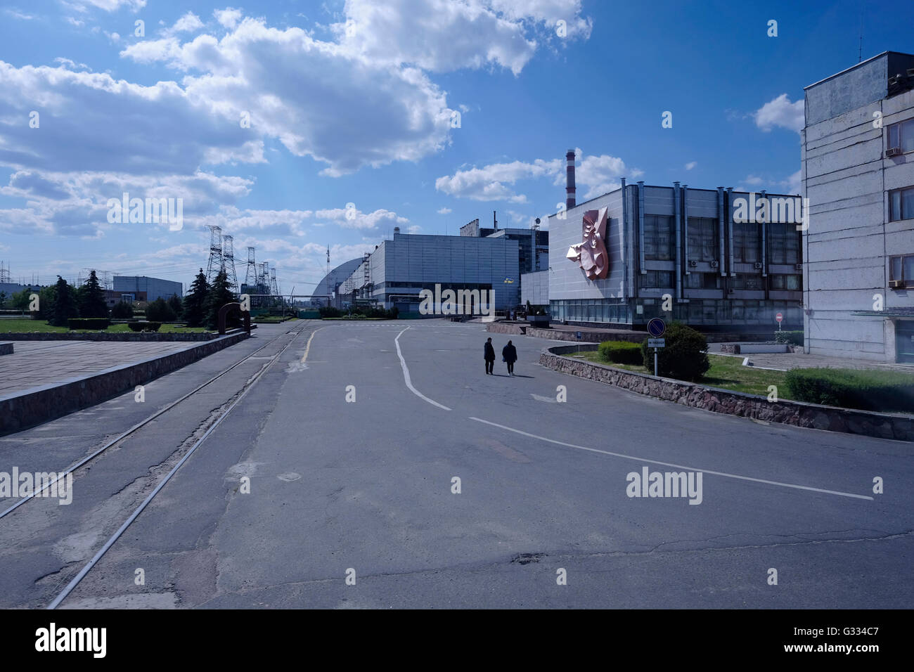 View of the Chernobyl plant inside the Chernobyl Exclusion Zone in Ukraine on 04 June 2016. The Chernobyl accident - Stock Image