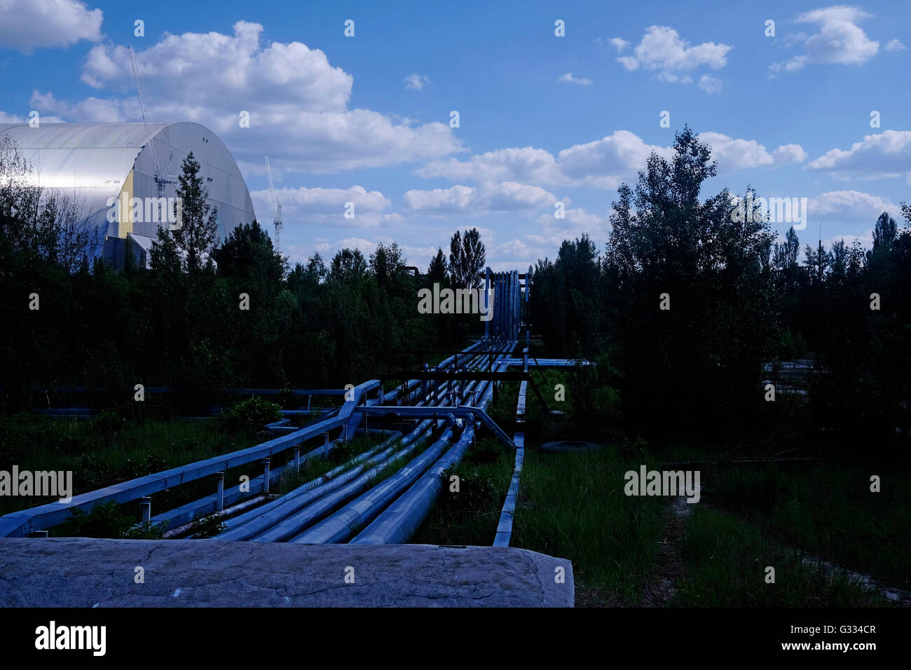 View of steel pipes which have been laid above ground since the Chernobyl accident to avoid digging into contaminated - Stock Image