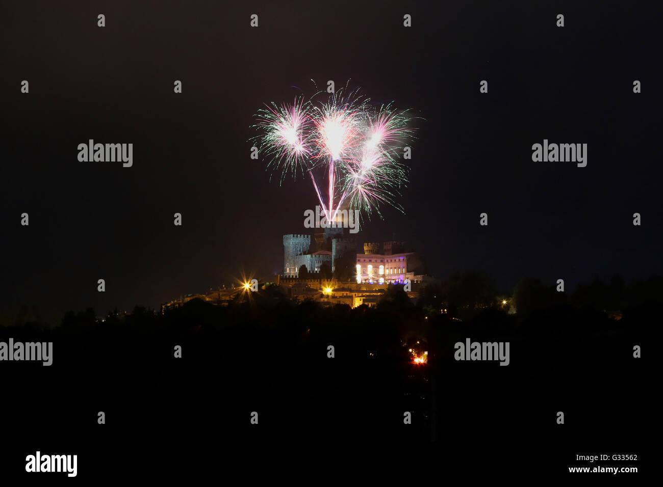 Torre Alfina, Italy, fireworks above the Castello di Torre Alfina Stock Photo