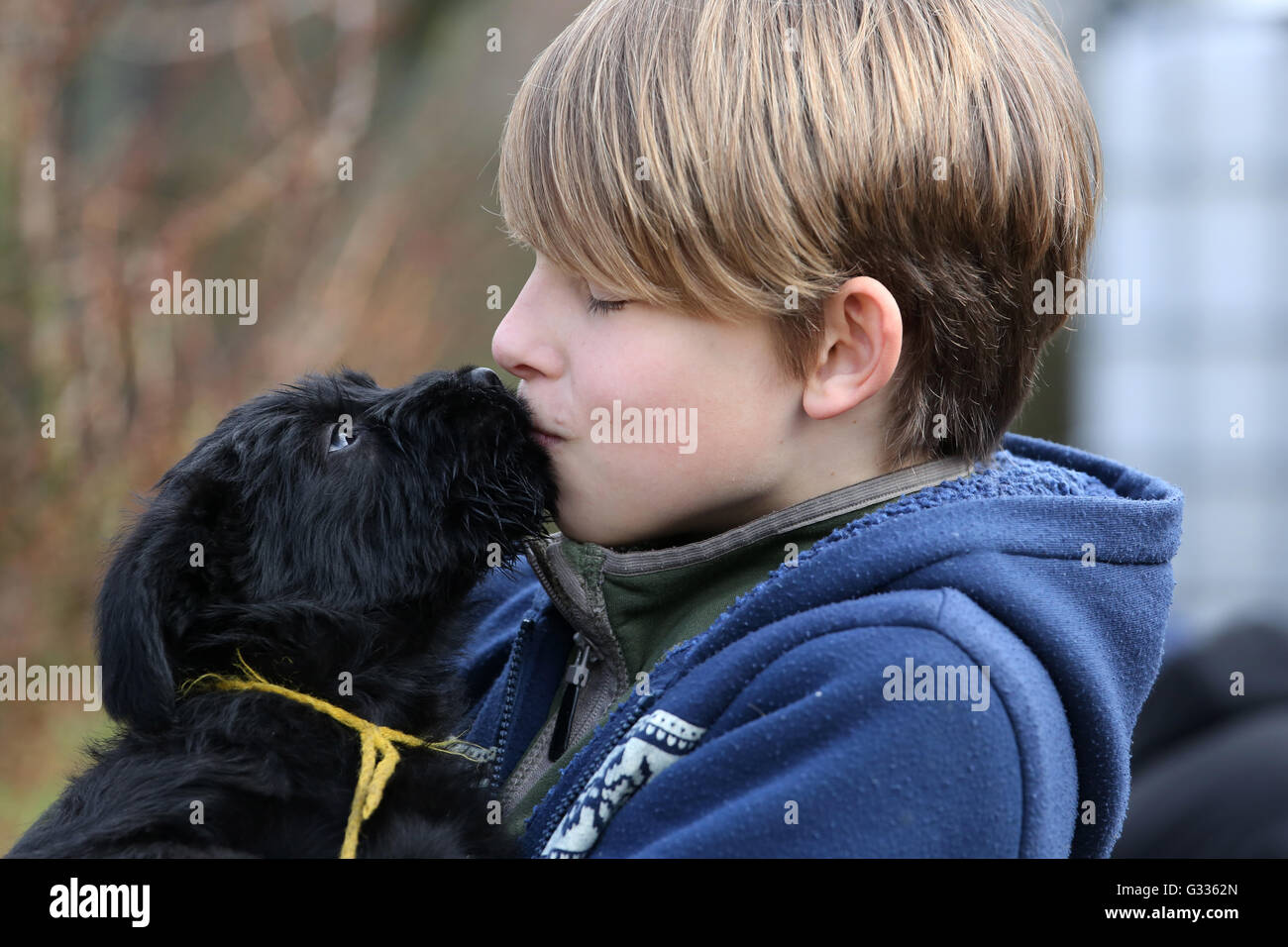 Berlin, Germany, boy kisses a puppy - Stock Image