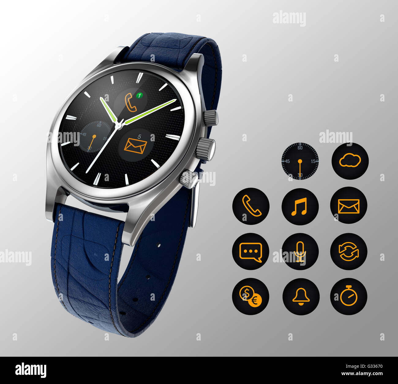 Analogue wristwatch with digital touch screen.  Smart watch concept. - Stock Image