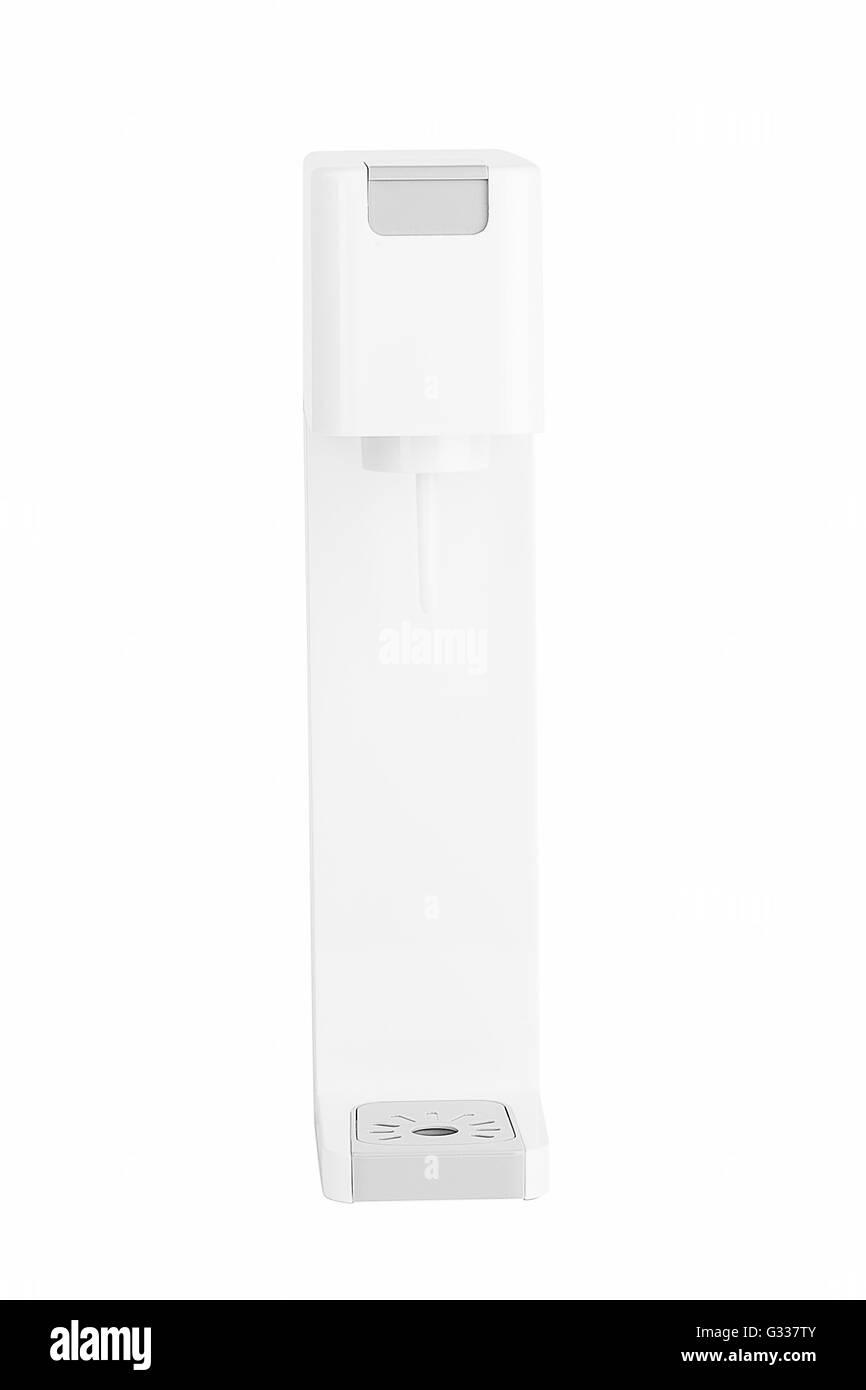 Soda sifon or Seltzer bottle. Side view. Isolated on white background. - Stock Image
