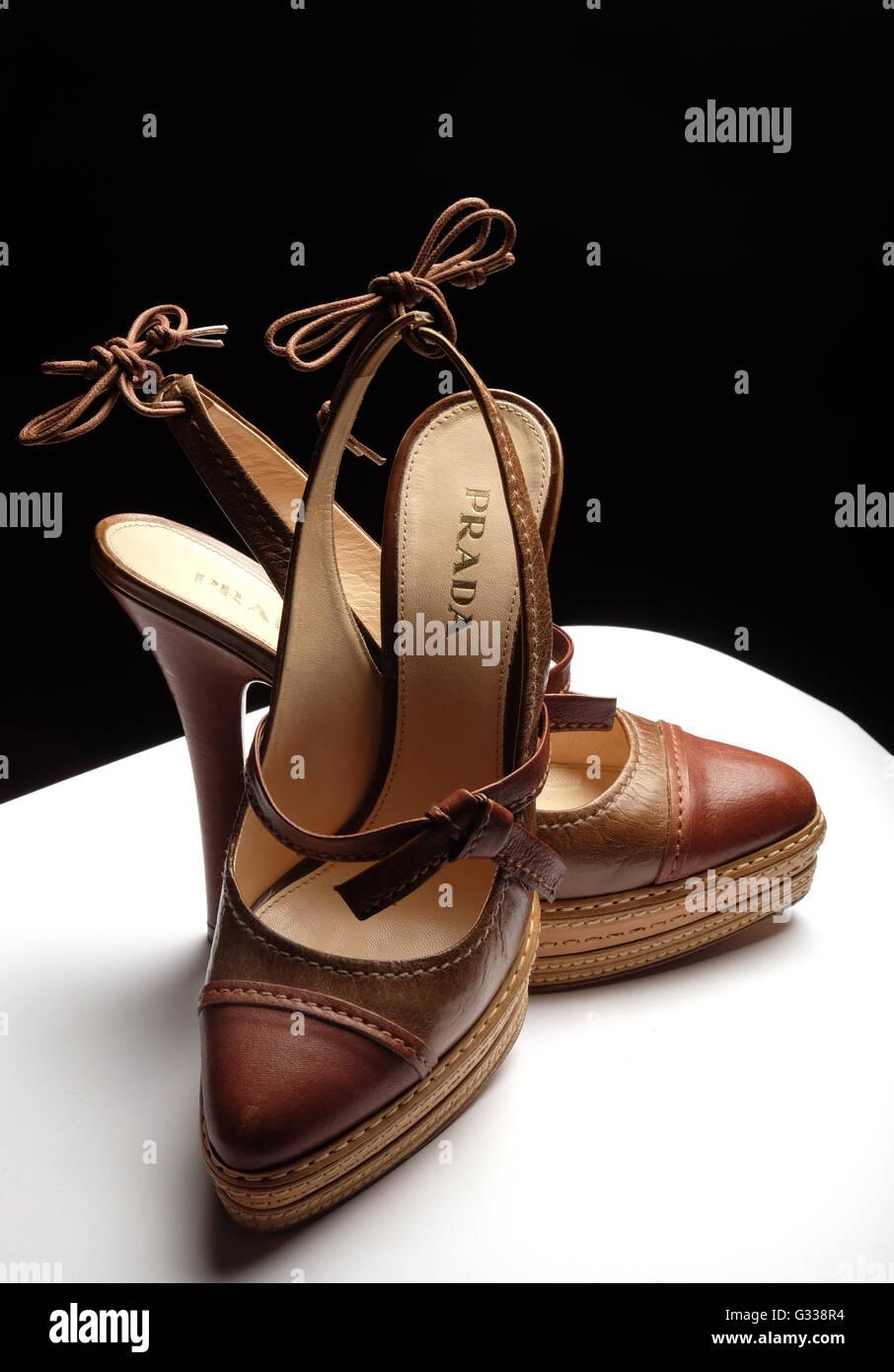 Classic hand-made Italian designer Prada shoes. Stock Photo