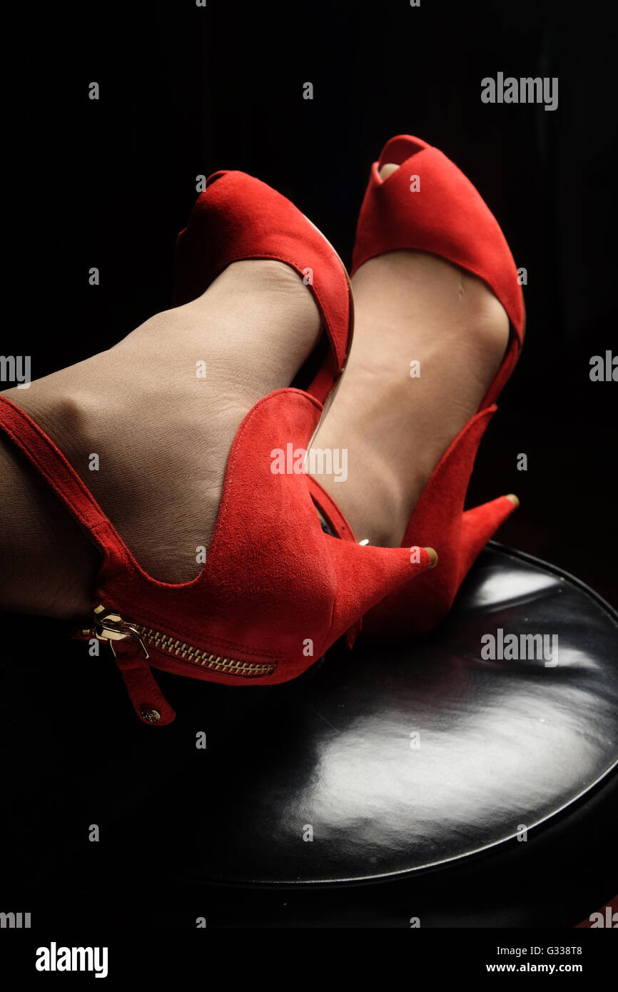 Red nubuck High-heel shoes by Australian designer Alannah Hill - Stock Image