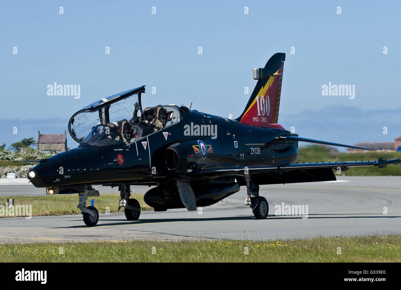 Hawk jet trainer RAF Valley Stock Photo