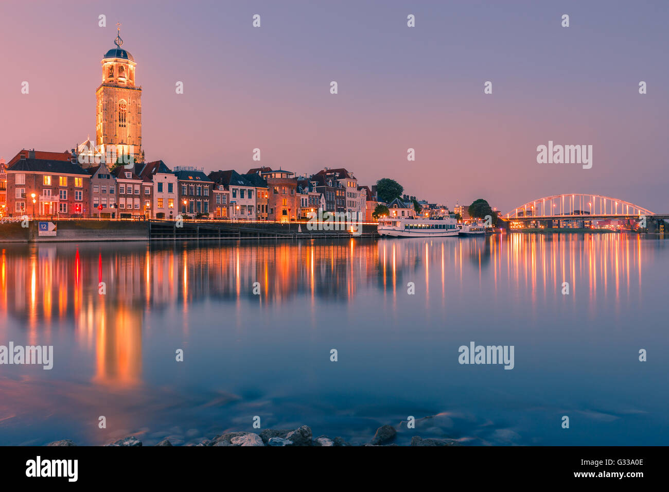 The old historic town of Deventer along the river IJssel in the Netherlands Stock Photo