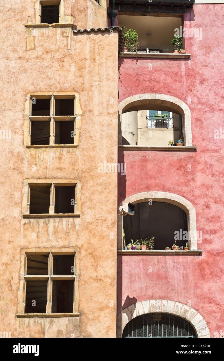 Traboule Maison des Avocats, Saint Jean district, Old Lyon, Lyon, Rhone, France, Unesco World Heritage Site - Stock Image