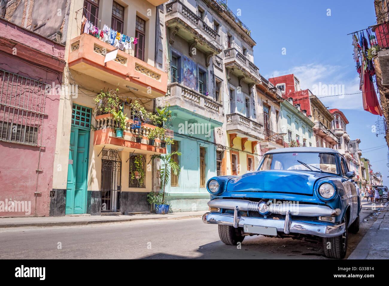 Vintage classic american car in Havana, Cuba - Stock Image