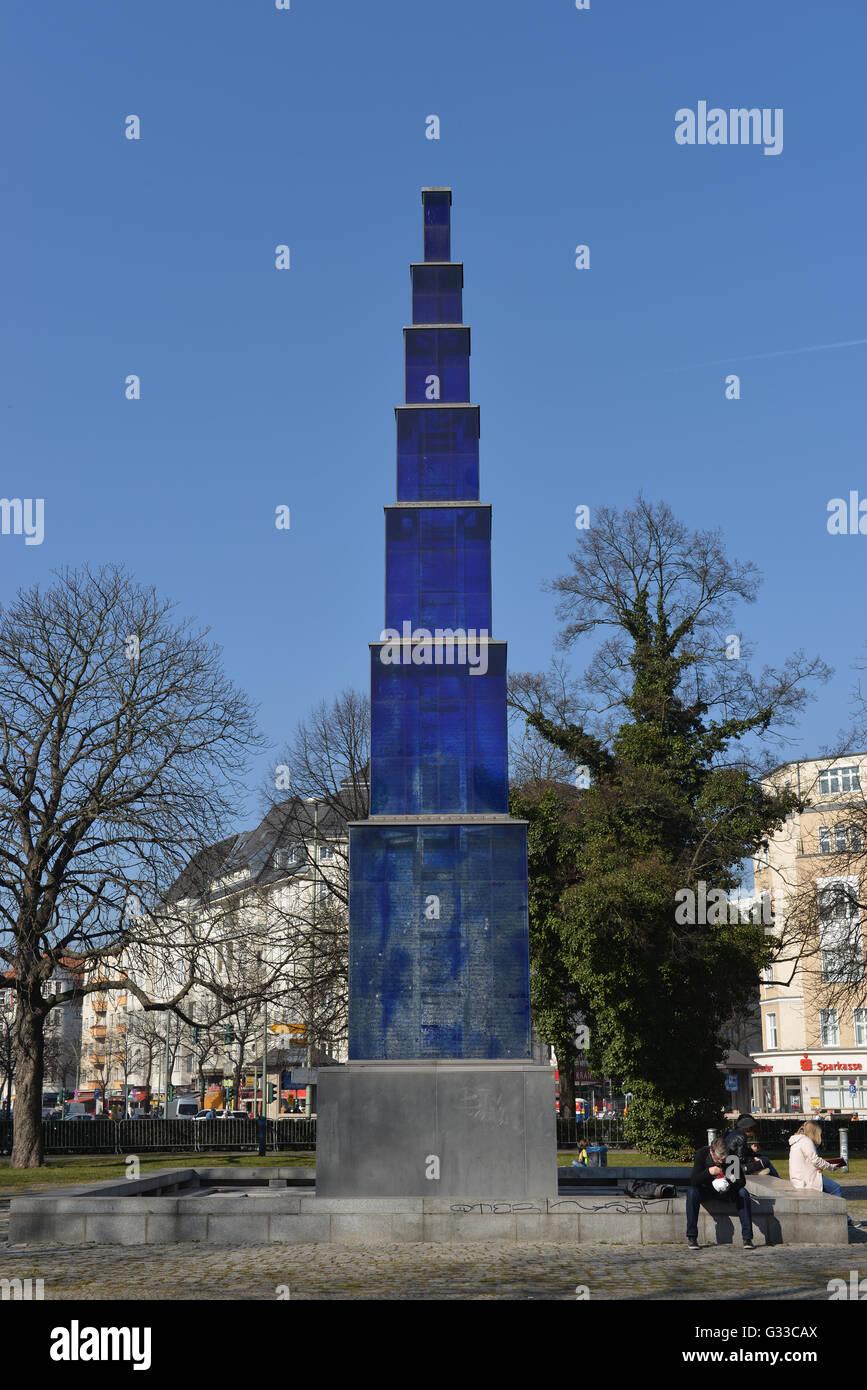 blauer obelisk theodor heuss platz charlottenburg berlin stock photo 105181746 alamy. Black Bedroom Furniture Sets. Home Design Ideas