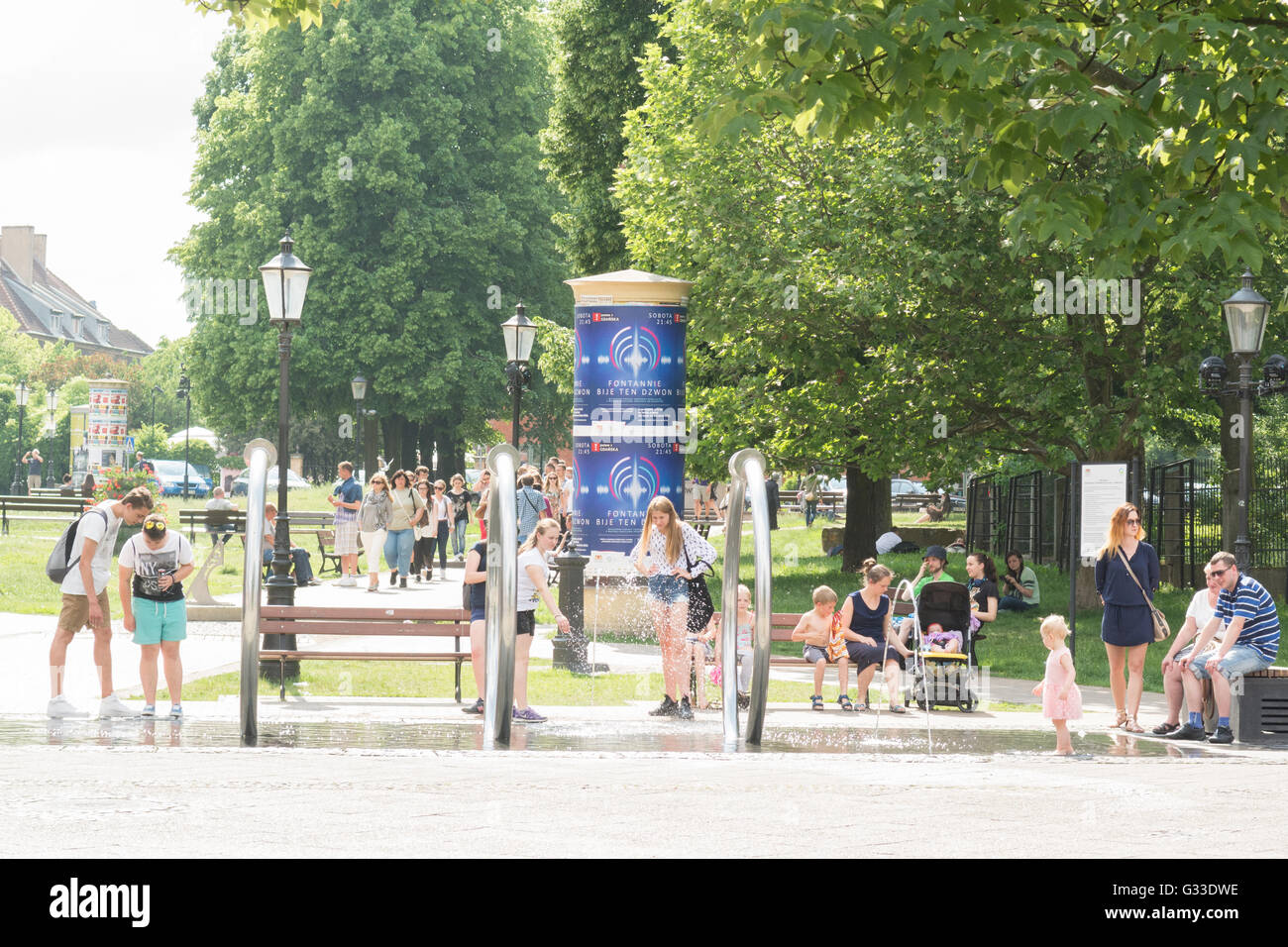 Hevelius Fountain in Jan Hevelius Square on a hot day - Gdansk, Poland, Europe - Stock Image